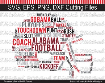 Alabama svg, AL Football svg, Football Helmet Word Cloud, Rammer Jammer, SVG, png, Eps, Dxf, Silhouette Cutting Files