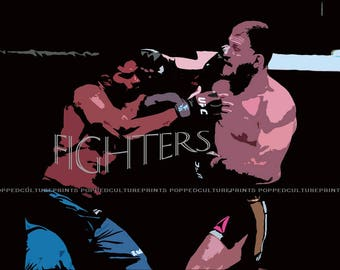 Ultimate Fighters, Print or Canvas, Fighting Wall Poster, Fighter Lover Decor, Sports Fan Art, Boxing Picture, Man Cave, Cool Sports Print