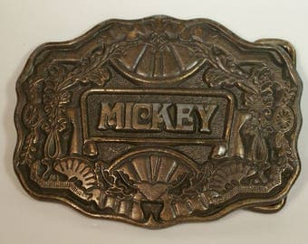 "70s ODEN Brass ""Mickey"" Name Belt Buckle Floral Filigree Design Custom Made 1970s Boho Rustic Country Western North Carolina Made in USA"