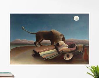 "Henri Rousseau, ""The Sleeping Gypsy"". Art poster, art print, rolled canvas, art canvas, wall art, wall decor"