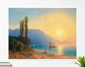 "Ivan Aivazovsky, ""Sunset over Yalta"". Art poster, art print, rolled canvas, art canvas, wall art, wall decor"