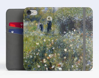 "Renoir, ""Woman with a Parasol in a Garden"". iPhone 8 Wallet case, iPhone 7 Wallet case  iPhone 6 Plus Wallet case. Samsung Wallet cases."