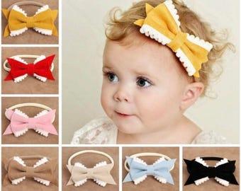 Pom Pom, Bow, Headband, Pom Pom trim headband, suede, pink, pompom, pom pom headband
