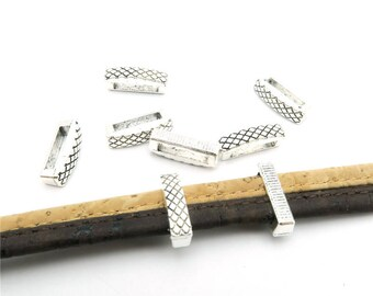 20 Pcs for 10mm flat leather,Antique Silver long Slider jewelry supplies jewelry finding D-1-10-85