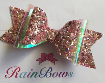 Glitter Hair Bow - Pink