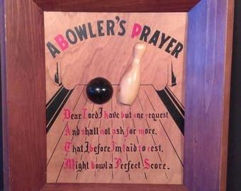 Vintage Novelty Bowlers Prayer in frame