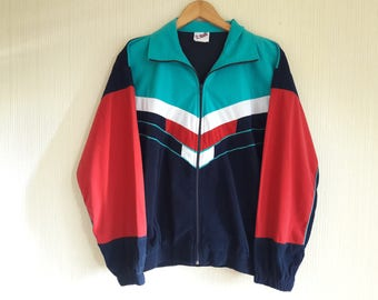 Vintage womens windbreaker, Blue, red and white Windbreaker, Sport Jacket, womens windbreaker XS, 90s windbreaker, windbreaker vintage