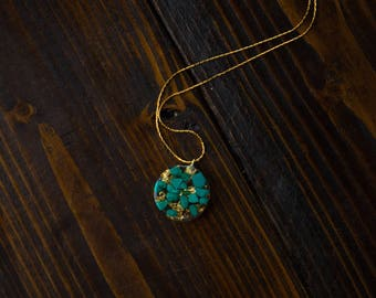 Turquoise and Gold Leaf Necklace