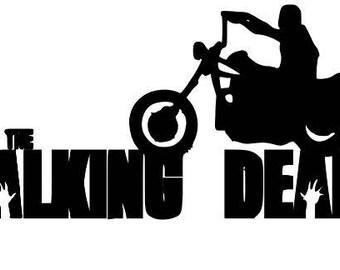 Daryl Dixon Motorcycle Walking Dead Zombie Halloween Horror Vinyl Car Decal Bumper Window Sticker Any Color Multiple Sizes