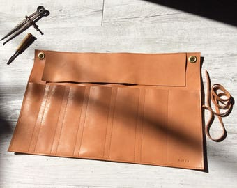 Leather tool roll, knife roll, vegetable tanned leather tool holder with brass hardware, and personalised