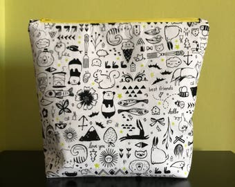 Handmade large zipper pouch for knitting and crochet project 29 x 25 x 21.5 x 7.5 cm *Toy Shop*