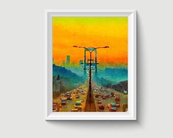 Bridge Sunset Istanbul Turkey Watercolor Painting Art Printable Q18