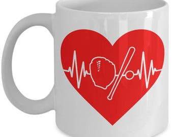 Baseball Heartbeat Mug - 11oz or 15oz Ceramic Cups For Coffee And Tea