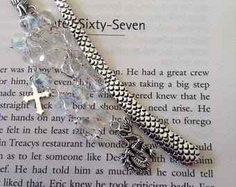 Clear beaded Dragon book mark silver book mark metal book mark literary gift beaded book mark reader gift book lover gift