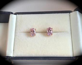 Genuine Morganite Earrings 9ct Rose Gold  - 'Certified SI1-2'  Beautiful Pink Hues!