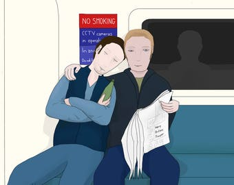 Postcard: Drawing of a couple on the London Underground / metro / the Tube (A6 size artwork)