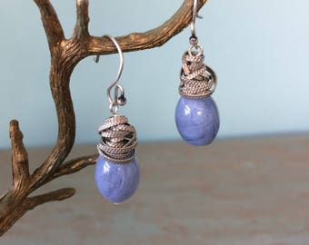 Wire wrapped lavender-blue earrings