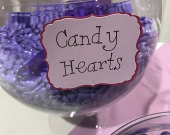 Candy Buffet Flavor Tags for Bridal/Baby Shower, Birthday Party, Etc. (Set of 12)