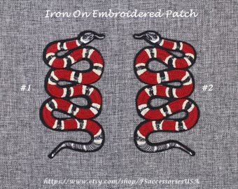 Snake Patch Coral Snake Iron On Patch 6.5'' x 3.5'' Mirror Symmetry Snake Patch Large Snake Patch Top Quality Embroidery Patch Custommade#A8