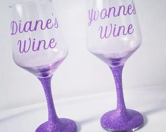 Personalised Glitter Wine Glasses