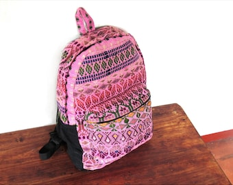 pink guatemalan backpack/ ethnic/ boho chic backpack