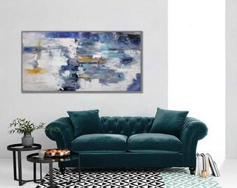 "Interior Decor Painting Modern Wall Art Abstract Painting Acrylic Painting Canvas Art Original Abstract Art Modern 24x48""/60x120cm"