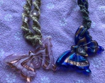 Glass Butterfly Hemp Necklaces