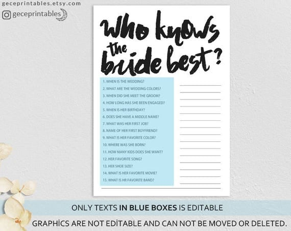 Who Knows The Bride Best Editable Bridal Game Tribe Wedding Shower Games Hens Night Party Bachelorette