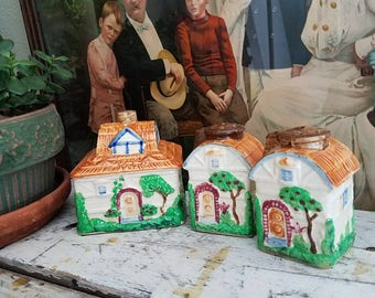 Vintage  Hinode Cottage Dishes Covered Dish with Salt Pepper Shakers Old English Cottage Bohemian  Farmhouse Decor
