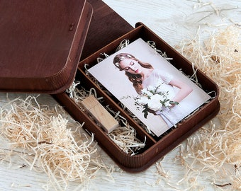 Wood wedding photo box for 4x6 prints | Presentation box for photos and usb packaging
