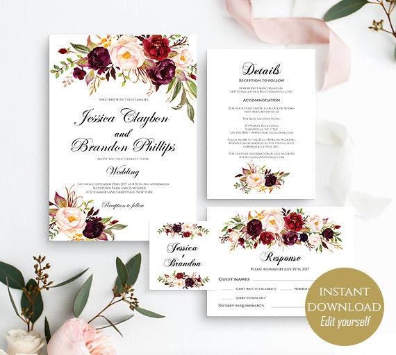 Wedding Invitation Set Wedding Invitation Printable Wedding