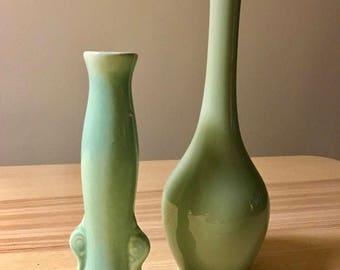 Vintage Mint Green Vases