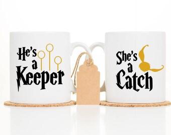 He is a keeper Mug -  Newly Engaged Gift - She is a Catch Mug - Engagement Gift - Harry Potter - Wedding Gift - Wedding Mug - Mr and Mrs Mug