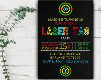 Laser tag invites Etsy