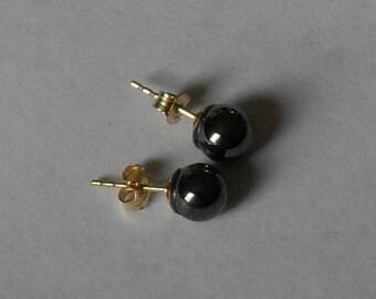 Hematite Stud Earrings,Black Crystal Stud Earrings,Hematite Crystal Ball Stud Earrings,Hematite Crystal Jewelry