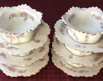 6 Antique Porcelain Ramekins under Plates M & Z Austria Custard Gold Gilt Rims