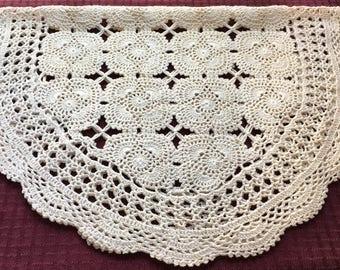 Vintage Hand Crafted Crochet Ecru Table Runner Dresser Scarf Doily