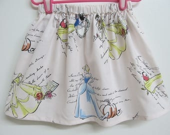 Children's Princesses Skirt with Belle, Cinderella and Snow White