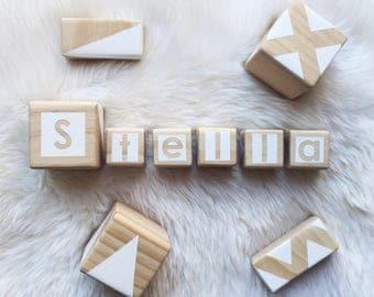 Personalised Wooden Blocks - White