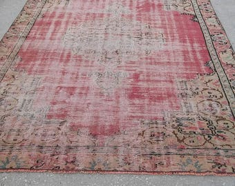 Oushak Rug, Turkish Vintage Original Pile Pattern Carpet,Pastel Red colors,Home living, Floor rugs,205x270cm, shown in the photo,