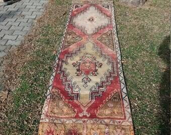 Oushak RunnerRug, Turkish Vintage rug,Home Decoratıve Pastel colors Runner Rugs,2'8x7 Ft, home living,floor rugs, Rugs,Rug,,