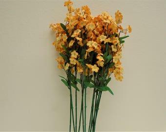 "12 Sprays ORANGE Ruffle Baby Breath Filler Artificial Silk Flowers 18"" Stem 828OR"