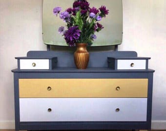 Mid century modern dressing table with chest of drawers