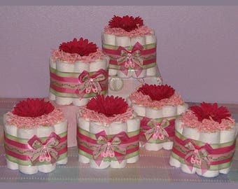 Diaper Cupcakes - Baby Shower Centerpiece, Small Diaper Cakes, Baby Shower Gifts, Unique Diaper Creations