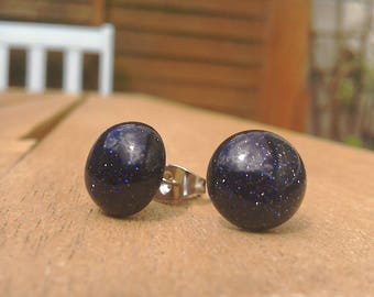 Blue Goldstone stud earrings