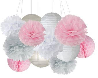 12pcs Mixed Pink Gray White Party Decoration Kit Tissue Pom Poms and Lantern Honeycomb Ball Girl Baby Shower Birthday Wedding Decoration