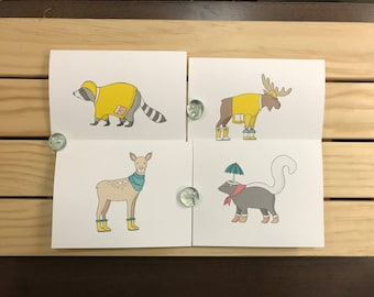 4 Pack of Notecards-Woodland Animals in Clothes