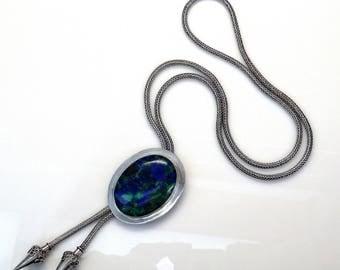 Sterling Silver Oval Azurite Malachite Spiga Chain Lariat Necklace