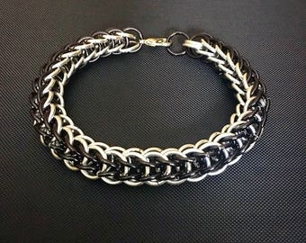 Chainmail Bracelet - Men's Full Persian Chain in Silver and Black