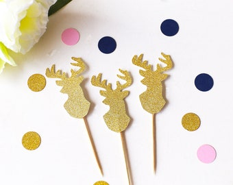 Stag Cupcake Toppers /Deer Birthday Toppers/Rustic Party decor